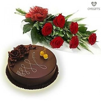6 Red Roses Bouquet With half Kg Chocolate Cake
